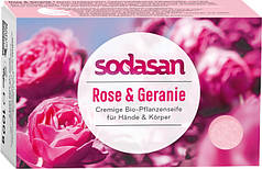 Натуральное мыло-крем SODASAN  с маслами Ши и Диких роз, 100 г