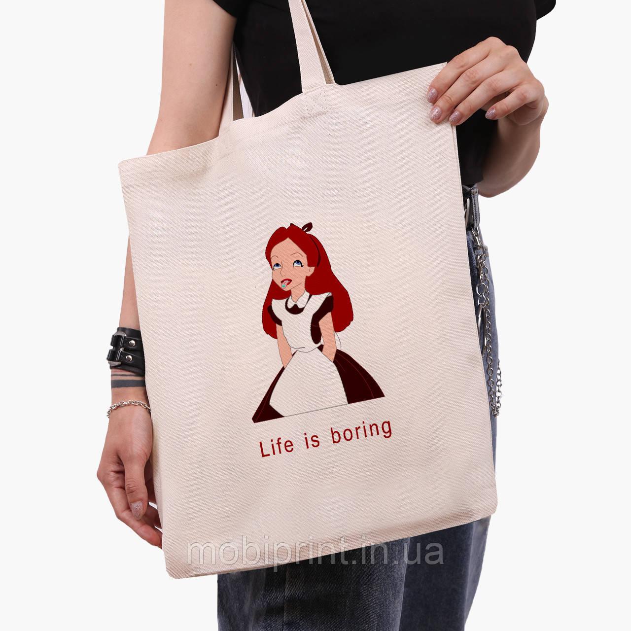 """Эко сумка шоппер Алиса """"Дисней"""" (Alice """"Disney"""") (9227-1435)  экосумка шопер 41*35 см"""