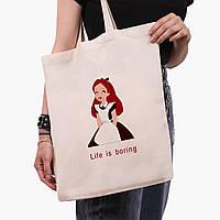 """Эко сумка шоппер Алиса """"Дисней"""" (Alice """"Disney"""") (9227-1435)  экосумка шопер 41*35 см , фото 1"""