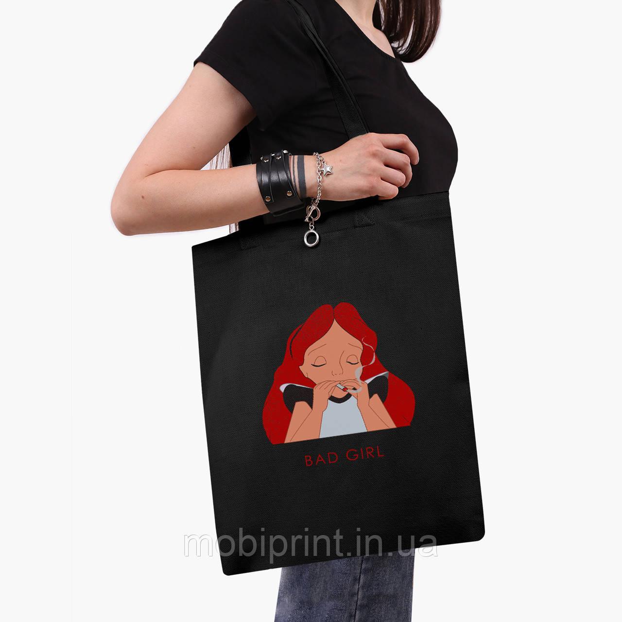 """Еко сумка шоппер чорна Аліса погана дівчинка """"Дісней"""" (Alice is a bad girl """"Disney"""") (9227-1441-2) 41*35 см"""
