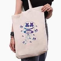 Эко сумка шоппер белая Маршмелло Фортнайт (Marshmello Fortnite) (9227-1329-1)  экосумка шопер 41*39*8 см , фото 1