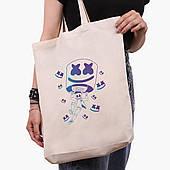 Эко сумка шоппер белая Маршмелло Фортнайт (Marshmello Fortnite) (9227-1329-1)  экосумка шопер 41*39*8 см