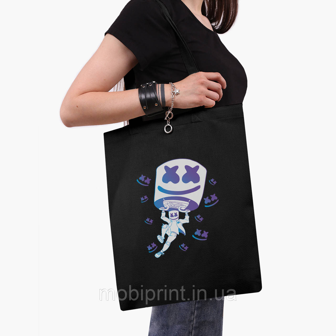 Эко сумка шоппер черная Маршмелло Фортнайт (Marshmello Fortnite) (9227-1329-2)  экосумка шопер 41*35 см