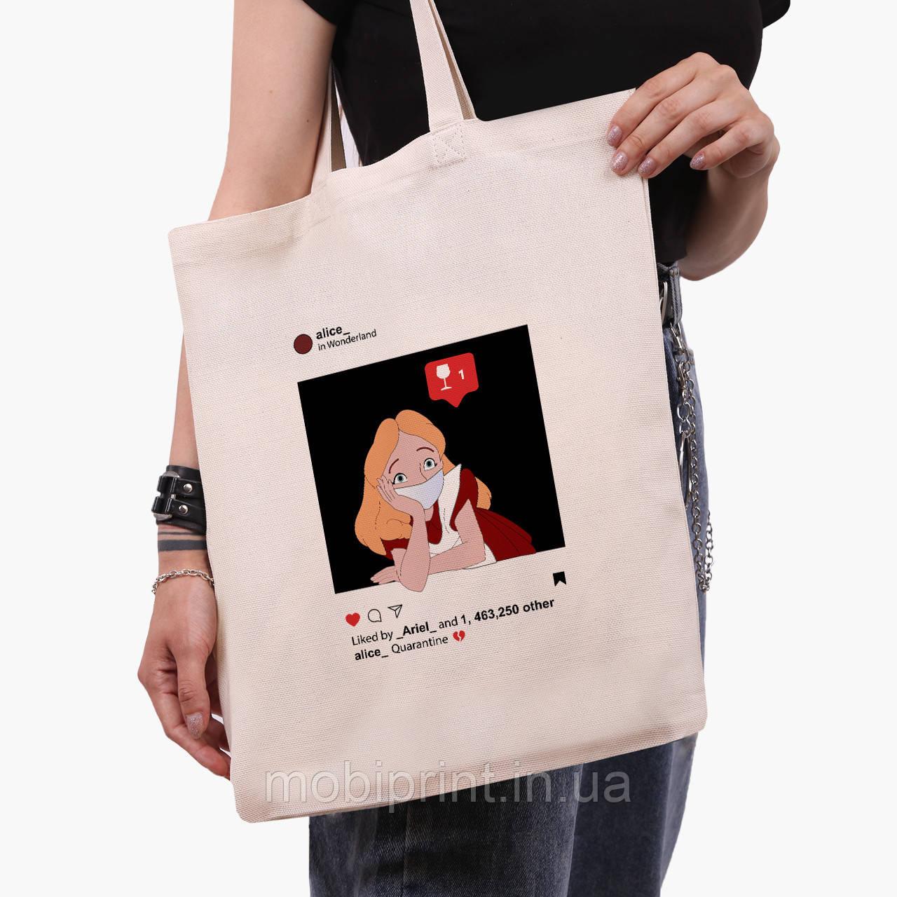 """Эко сумка шоппер Алиса в маске Дисней Карантин (Disney """"Quarantine"""")  (9227-1419)  экосумка шопер"""
