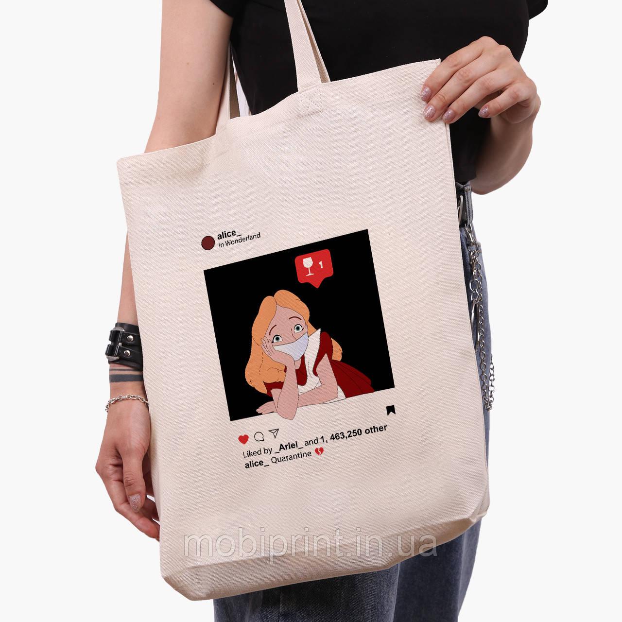 Эко сумка шоппер белая Алиса в маске Дисней (Disney) (9227-1419-1) экосумка шопер 41*39*8 см