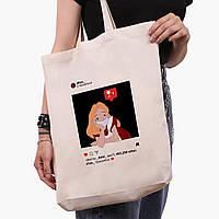 Эко сумка шоппер белая Алиса в маске Дисней (Disney) (9227-1419-1) экосумка шопер 41*39*8 см, фото 1
