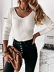 Женский свитер, турецкая ангора - рубчик, р-р универсальный 42-46 (белый), фото 3
