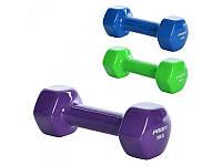 2 шт Гантели 3 кг с виниловым покрытием для фитнеса, йоги, пилатеса шестигранная 0291 -
