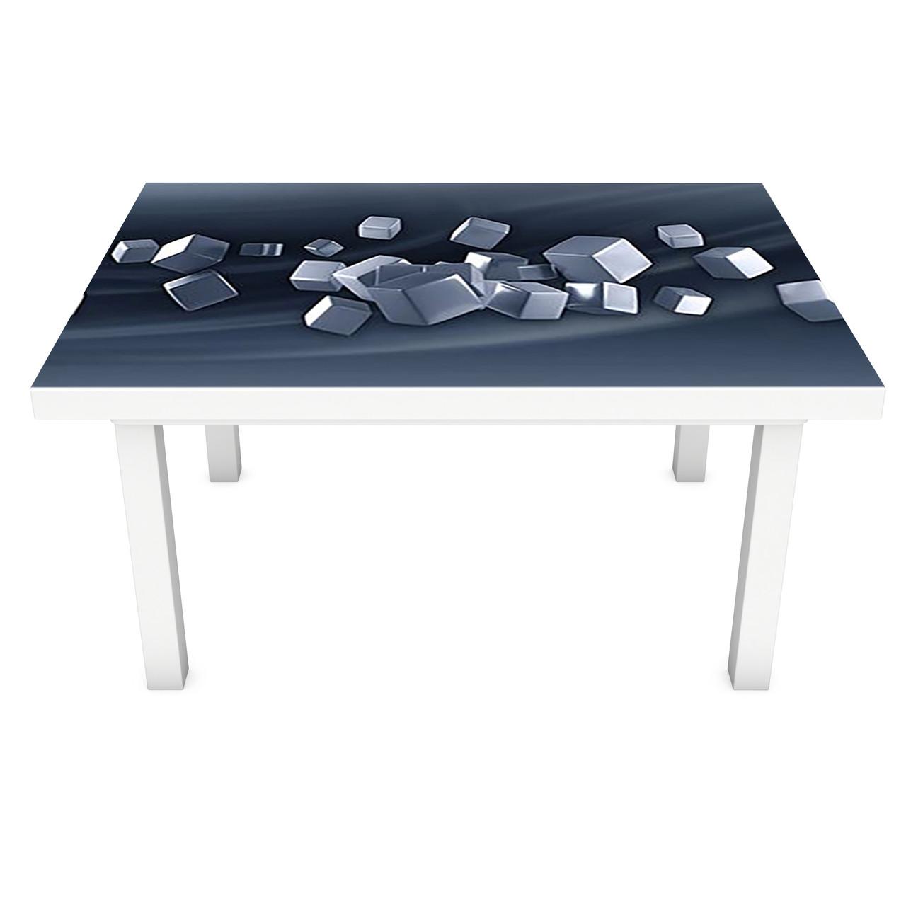 Наклейка на стол Стальные кубы (3Д виниловая пленка ПВХ) геометрия Абстракция Серый 600*1200 мм