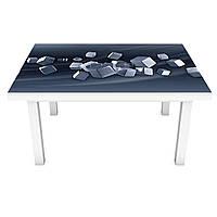Наклейка на стол Стальные кубы (3Д виниловая пленка ПВХ) геометрия Абстракция Серый 600*1200 мм, фото 1