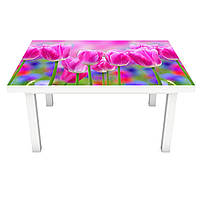 Наклейка на стол Яркие Тюльпаны поле (3Д виниловая пленка ПВХ) Цветы Розовый 600*1200 мм
