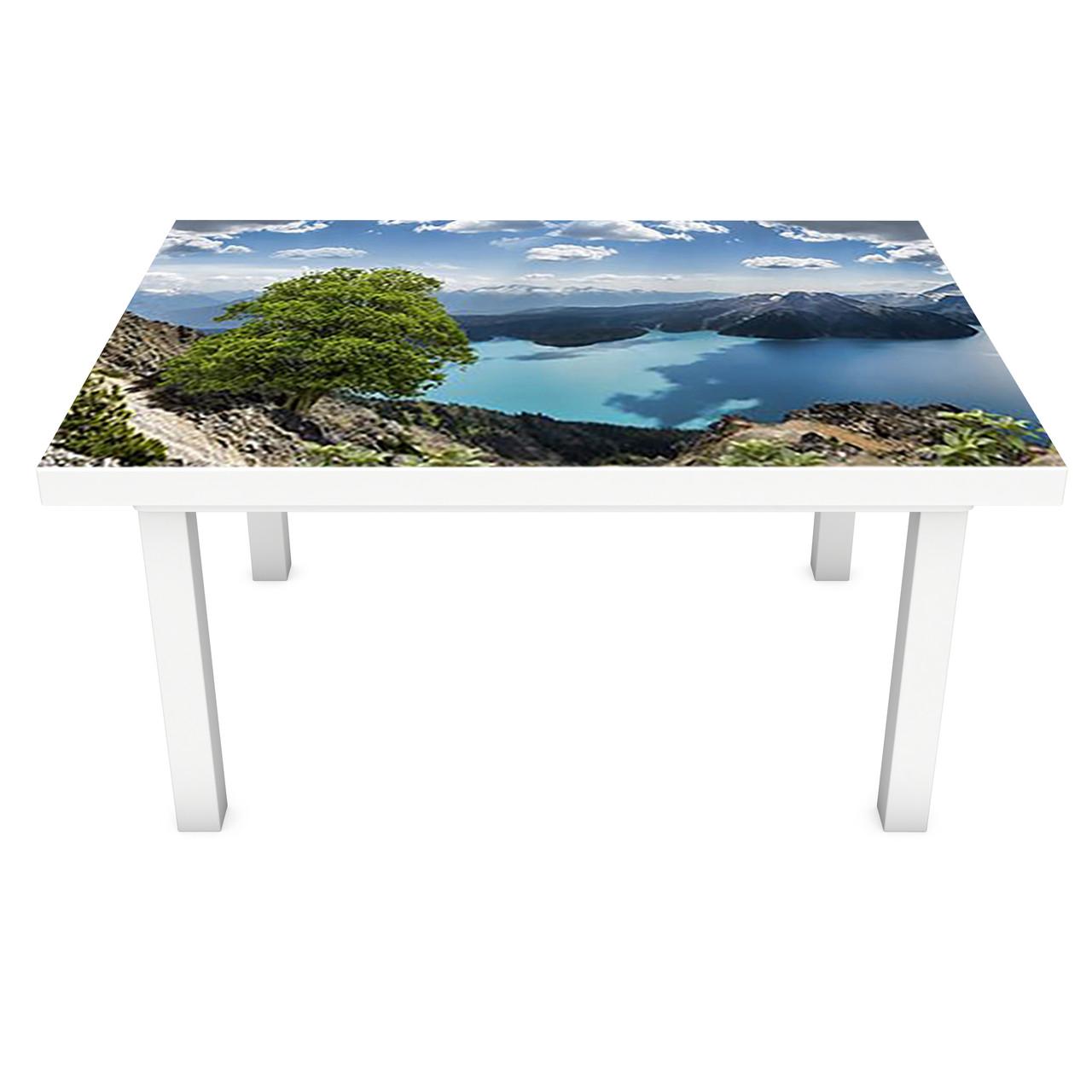 Наклейка на стол Высокогорное Озеро (3Д виниловая пленка ПВХ) горы вода Синий 600*1200 мм