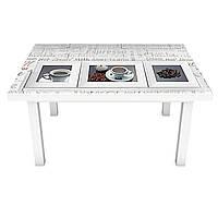 Наклейка на стол Картины Кофе (3Д виниловая пленка ПВХ) текст надписи Напитки Бежевый 600*1200 мм, фото 1