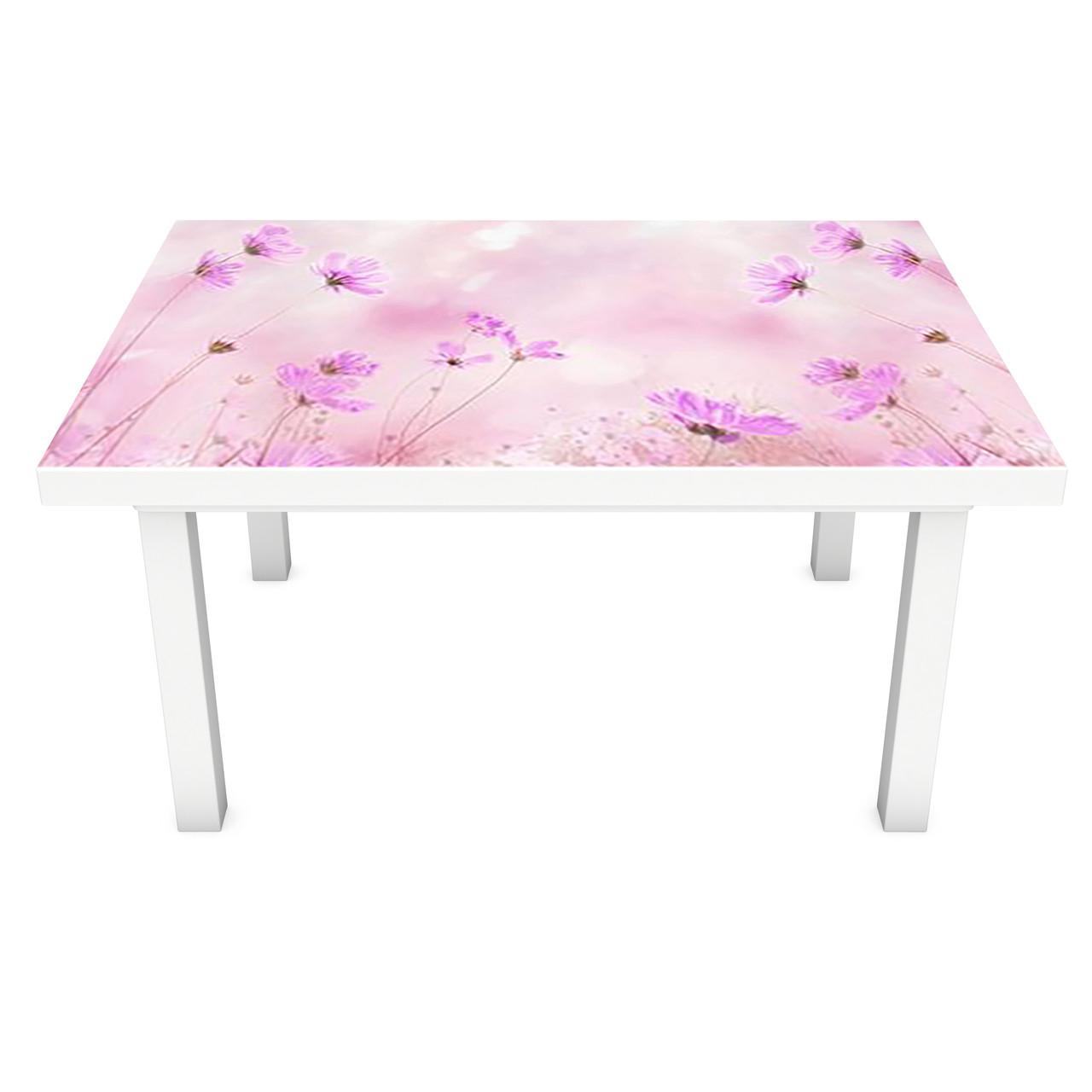 Наклейка на стол Полевые Цветы (3Д виниловая пленка ПВХ) травы Розовый 600*1200 мм