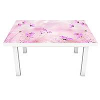 Наклейка на стол Полевые Цветы (3Д виниловая пленка ПВХ) травы Розовый 600*1200 мм, фото 1