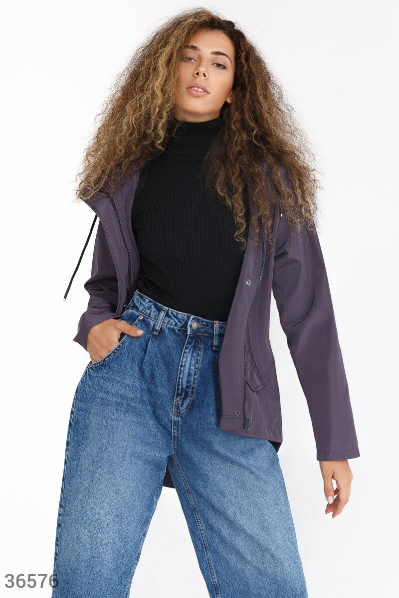 Куртка с капюшоном темно-фиолетовая