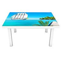 Наклейка на стол Белые Паруса 3Д виниловая пленка ПВХ пальмы остров Море Голубой 600*1200 мм