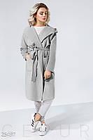 Легкое пальто-кардиган серое
