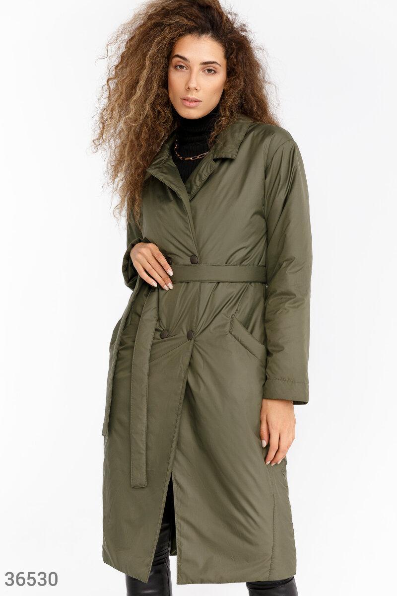 Длинная куртка-тренч цвета хаки
