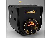 Печь дровяная отопительная, булерьян «Canada» с варочной поверхностью «02»+стекло и защитный кожух
