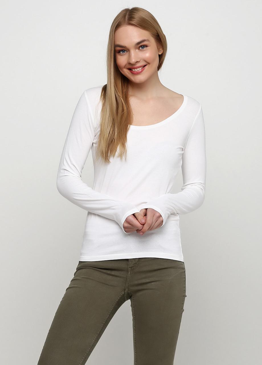 Женский лонгслив H&M белый,M