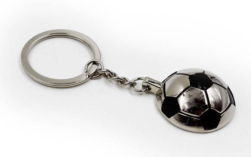 Брелок мяч футбольный C-4961 (металл хром, d-3см)
