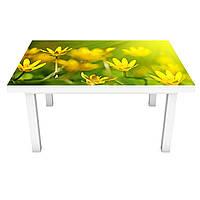 Наклейка на стол Желтые цветы (3Д виниловая пленка ПВХ) цветочное поле 600*1200 мм