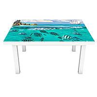 Наклейка на стол Акула у берега 3Д виниловая пленка ПВХ рыбы подводный мир Море Голубой 600*1200 мм