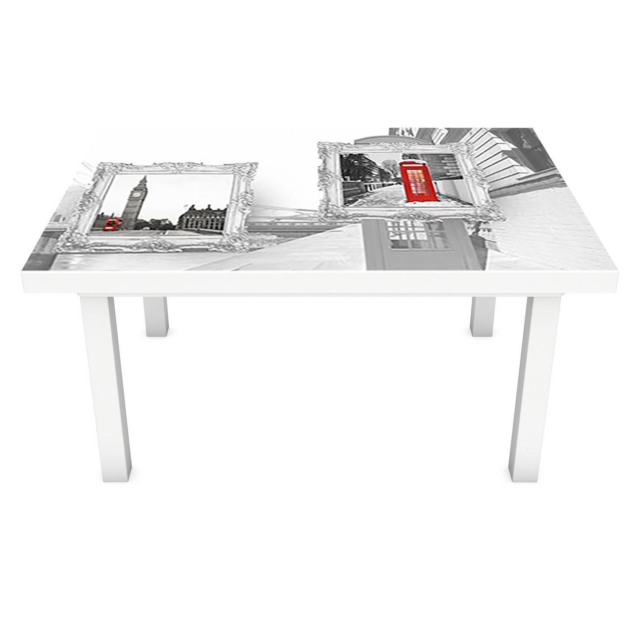 Наклейка на стол Лондон Картины (3Д виниловая пленка ПВХ) город Абстракция Серый 600*1200 мм