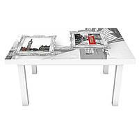 Наклейка на стол Лондон Картины (3Д виниловая пленка ПВХ) город Абстракция Серый 600*1200 мм, фото 1