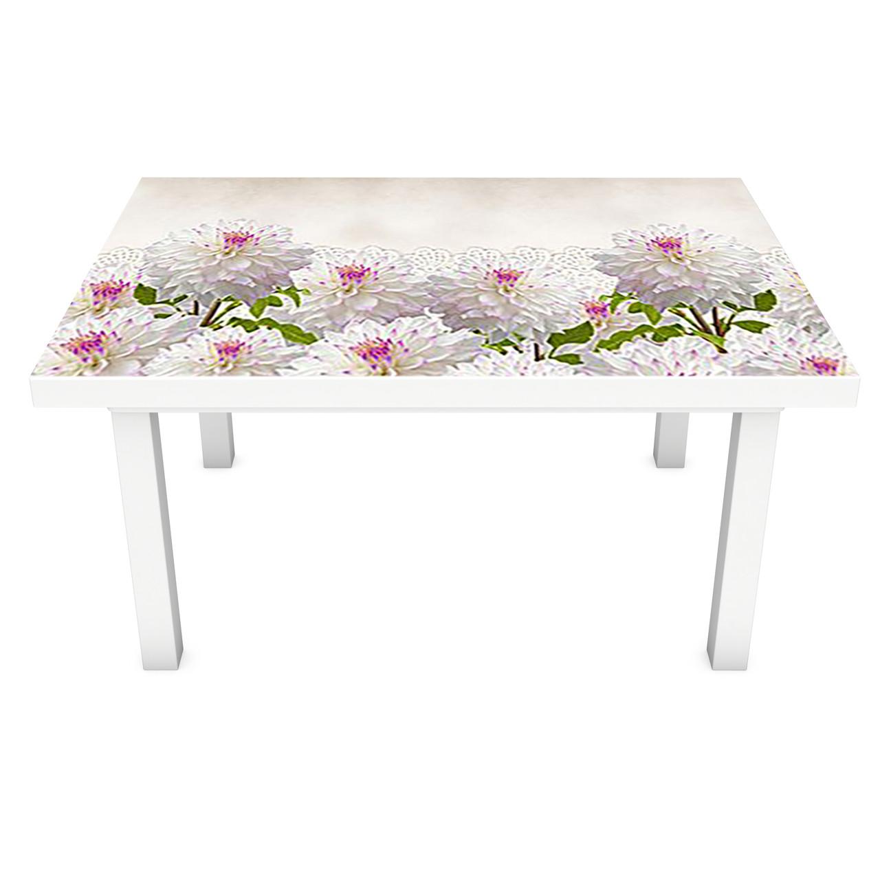 Наклейка на стол Пышные Георгины (3Д виниловая пленка ПВХ) Цветы Белый 600*1200 мм