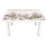Наклейка на стол Пышные Георгины (3Д виниловая пленка ПВХ) Цветы Белый 600*1200 мм, фото 1