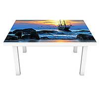 Наклейка на стол Корабль у берега 3Д виниловая пленка ПВХ скалы Море Синий 600*1200 мм