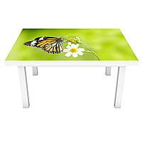 Наклейка на стіл Махаон 3Д вінілова плівка ПВХ метелик орхідея Тварини Зелений 600*1200 мм