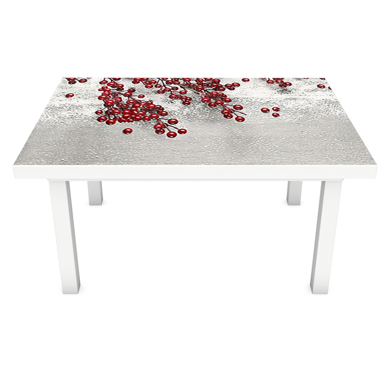 Наклейка на стол Заснеженные красные Ягоды (3Д виниловая пленка ПВХ) барбарис Серый 600*1200 мм