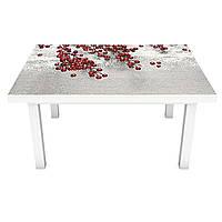 Наклейка на стол Заснеженные красные Ягоды (3Д виниловая пленка ПВХ) барбарис Серый 600*1200 мм, фото 1