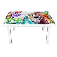 Наклейка на стіл Райдужний лев 3Д вінілова плівка ПВХ цегляна кладка Тварини Сірий 600*1200 мм