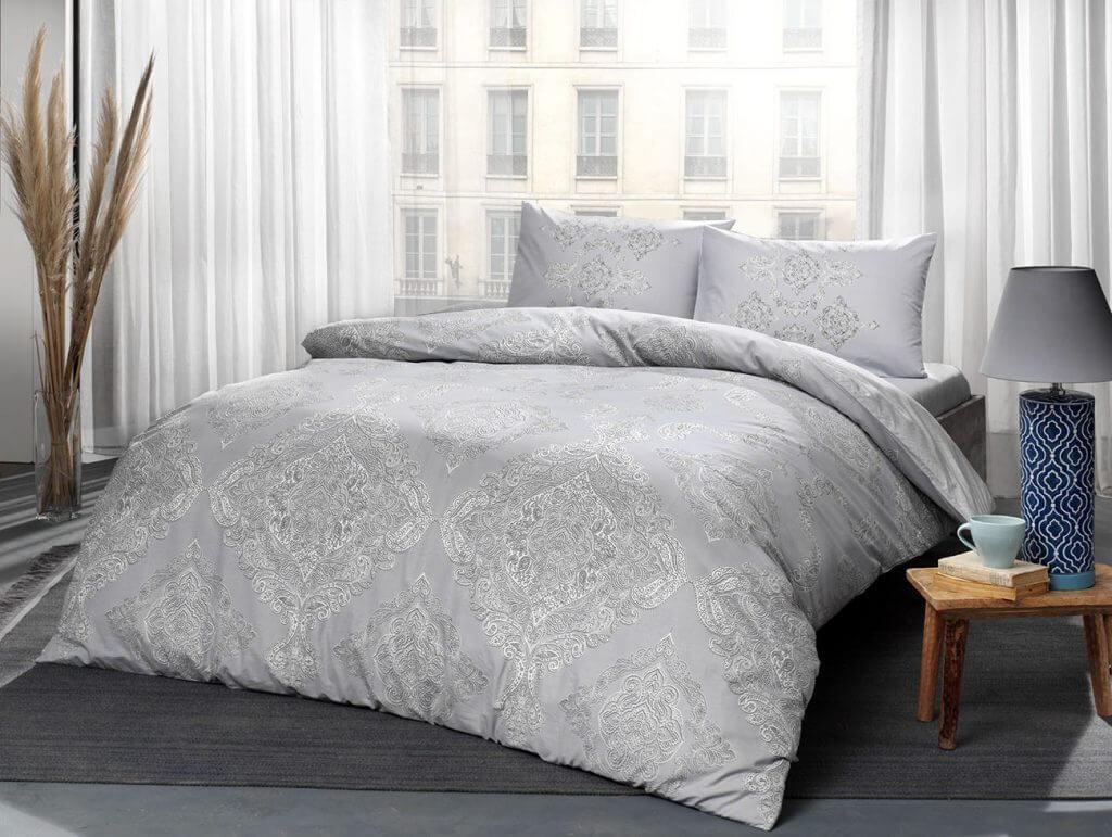 Двуспальный евро комплект TAC Mirabel Grey Ранфорс