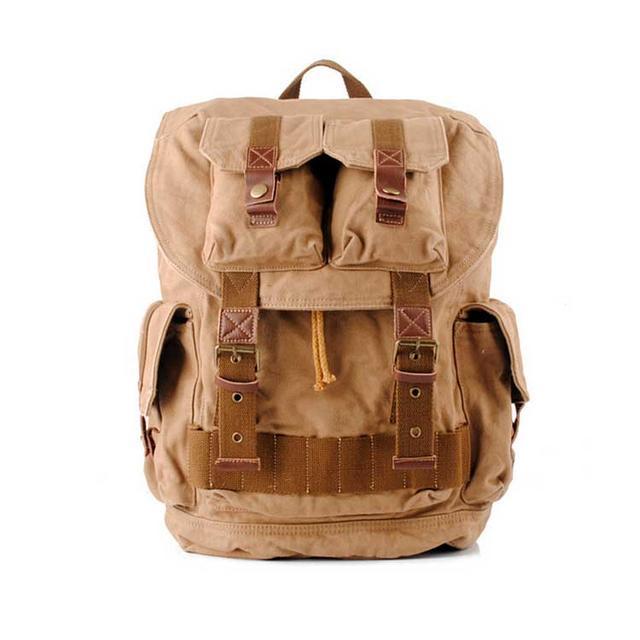 Рюкзак винтажный брезентовый S.c.cotton бежевый