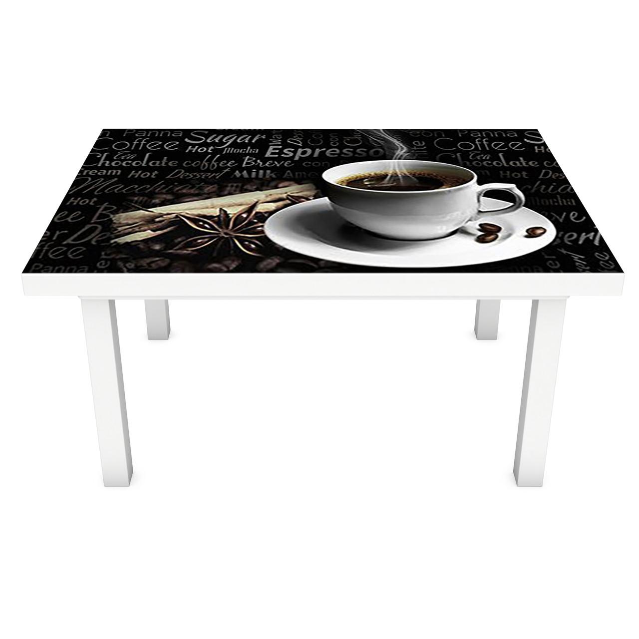 Наклейка на стол Черный Кофе Надписи (3Д виниловая пленка ПВХ) Напитки 600*1200 мм