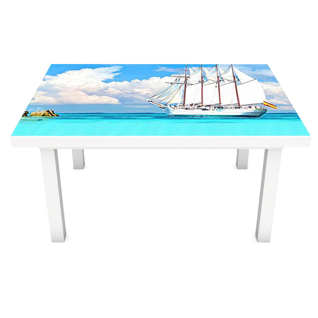 Наклейка на стол Парусник лазурный берег (3Д виниловая пленка ПВХ) остров Море Голубой 600*1200 мм