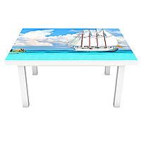 Наклейка на стол Парусник лазурный берег 3Д виниловая пленка ПВХ остров Море Голубой 600*1200 мм