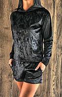 Черный велюровый костюм свитшоот и шорты.