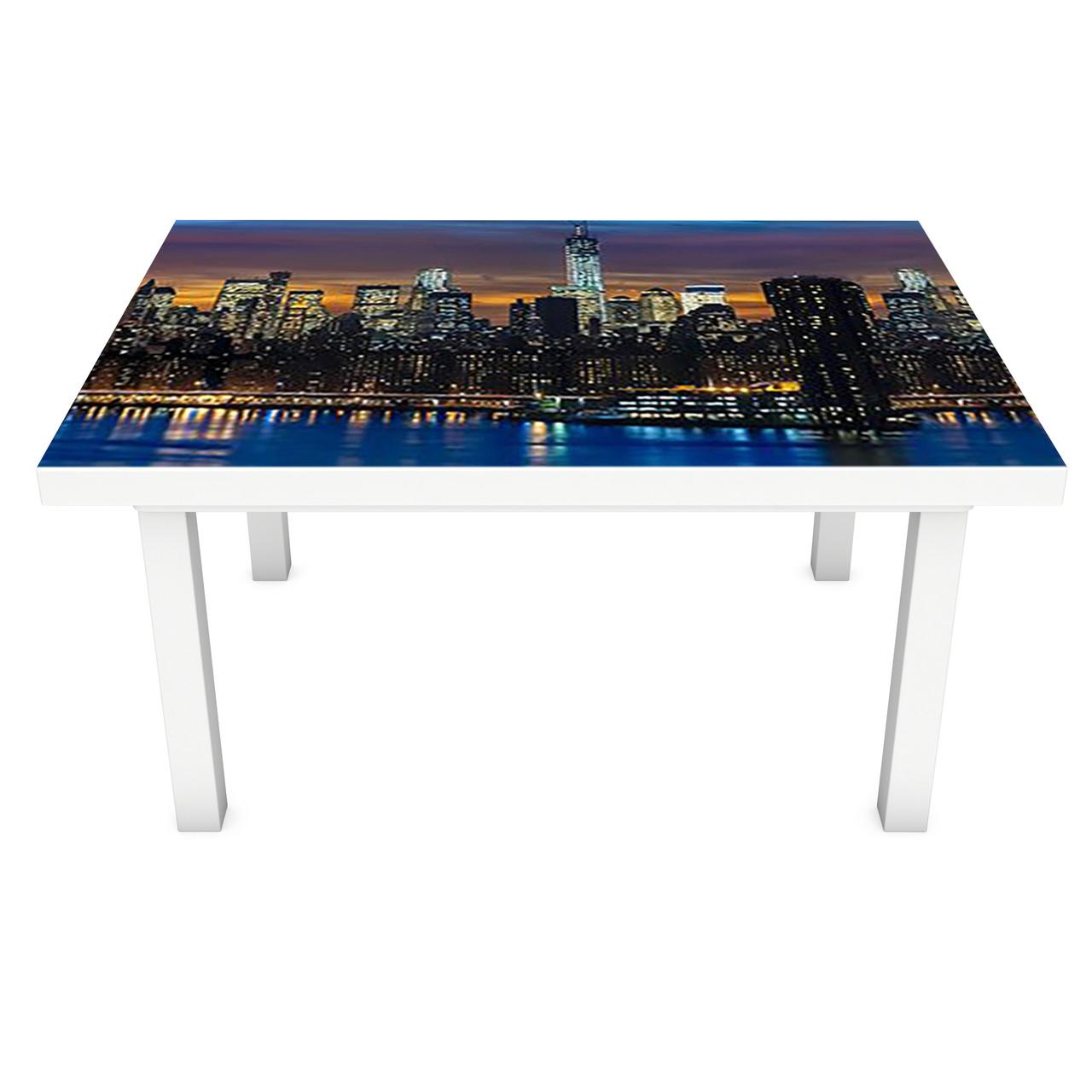 Наклейка на стол Ночной Город река (3Д виниловая пленка ПВХ) Архитектура Синий 600*1200 мм