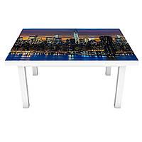 Наклейка на стол Ночной Город река (3Д виниловая пленка ПВХ) Архитектура Синий 600*1200 мм, фото 1