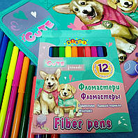 Фломастеры смываемые 12 цветов в картонной коробке 13351