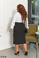 Деловой костюм с юбкой и белой блузкой с 48 по 58 размер, фото 4