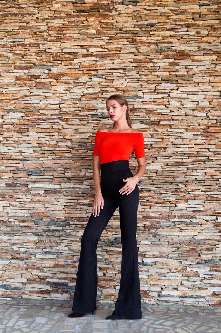 Штани жіночі кльош з високою талією AniTi 121, чорний