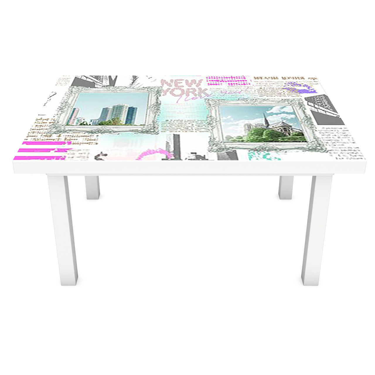 Наклейка на стол Город днем Картины (3Д виниловая пленка ПВХ) Абстракция Голубой 600*1200 мм