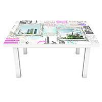 Наклейка на стол Город днем Картины (3Д виниловая пленка ПВХ) Абстракция Голубой 600*1200 мм, фото 1